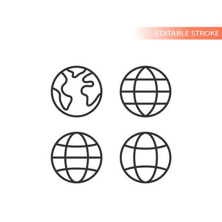 Globe web line vector icon set. Planet earth outline, editable stroke. 矢量图像