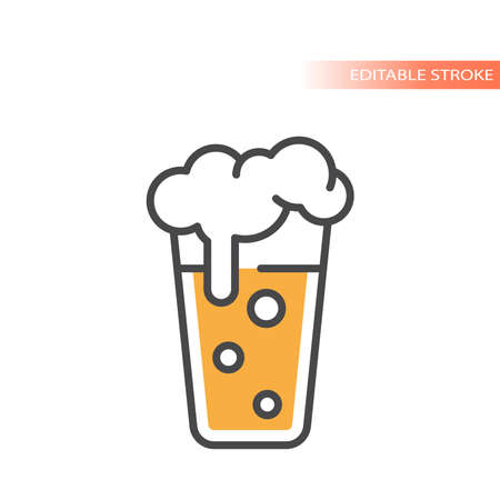 Pint beer with foam and bubbles icon. Colorful vector glass, editable stroke.