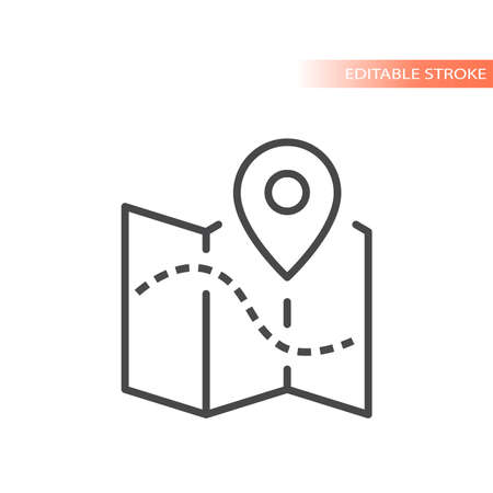 Map with dashed line path and location pin. Outline vector icon, editable stroke. 矢量图像