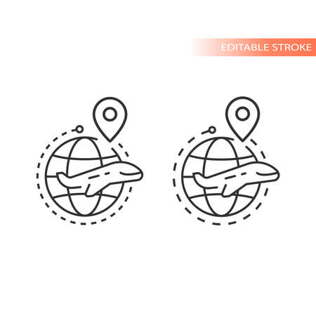 Globe, location pin and airplane line vector icon. Dashed line flight route outline, editable stroke.