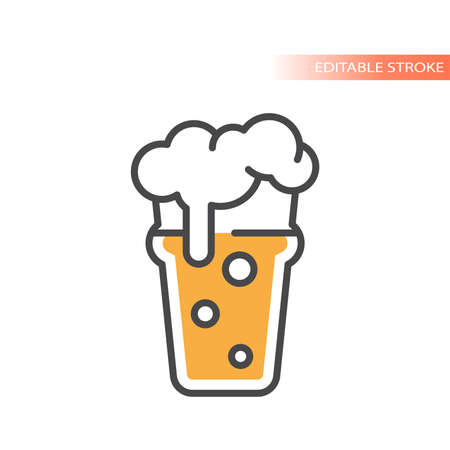 Nonic pint beer with foam and bubbles icon. Colorful vector glass, editable stroke.