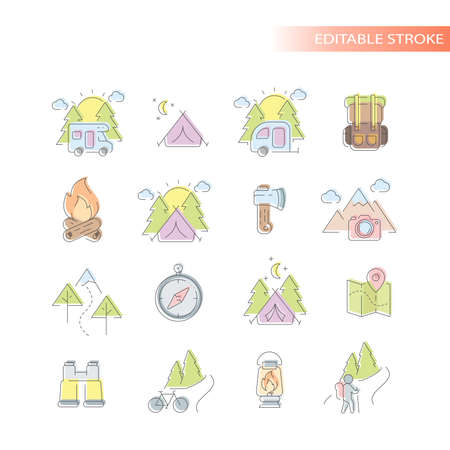 Outdoors, nature activities line icon set. Colorful, cute camping and hiking icons, editable stroke.