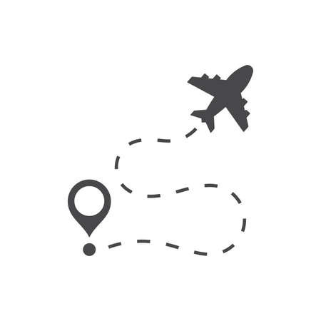Airplane and location pin black vector icon. Flight route symbol.