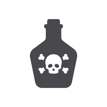 Bottle of poison with skull and bones icon. Poisonous sign with crossbones symbol. 矢量图像