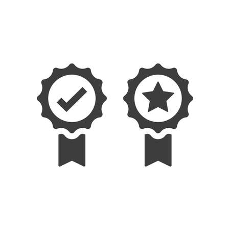 Award badge with checkmark and star vector icon. Quality ribbon medal black symbol. 矢量图像
