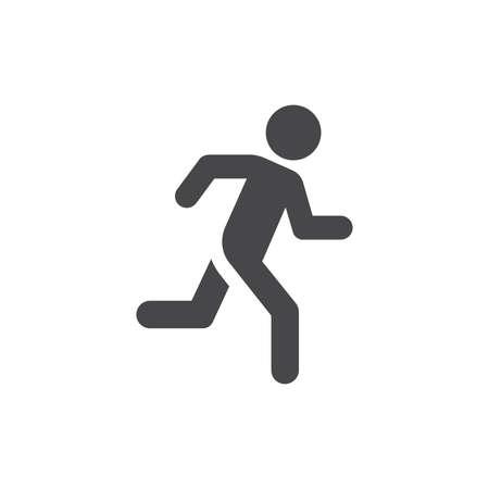 Running man black vector icon. Simple person on a run symbol. 矢量图像