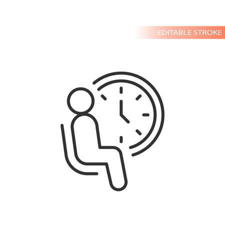Waiting room line vector icon. Man sitting in a chair with a clock outline, editable stroke.