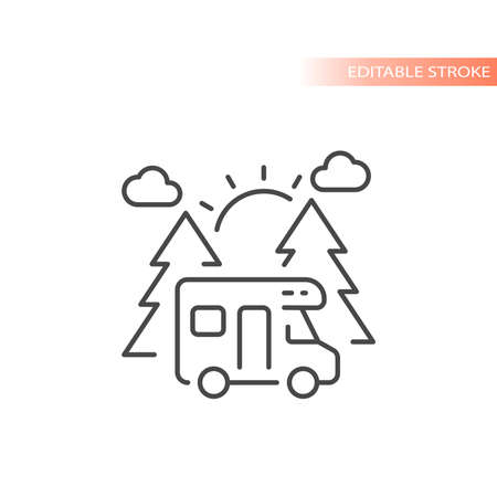 Camper van with trees and sun line vector icon. Camping outline, editable stroke.