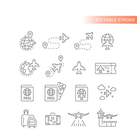 Airport, airline and airplane line vector icon set. Travel, boarding pass, flight route outline icons, editable stroke.