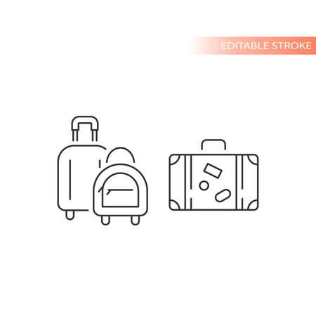 Luggage and suitcase line vector icon. Hand bag airport travel symbol, editable stroke.