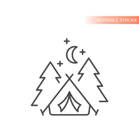 Tent with trees and moon line vector icon. Camping outline, editable stroke. 矢量图像