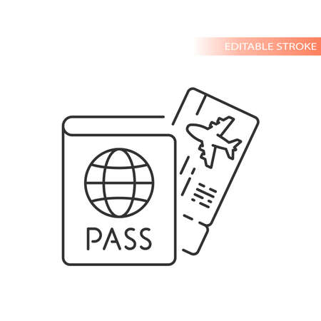 Passport id and airplane ticket line vector icon. Boarding pass symbol, editable stroke.