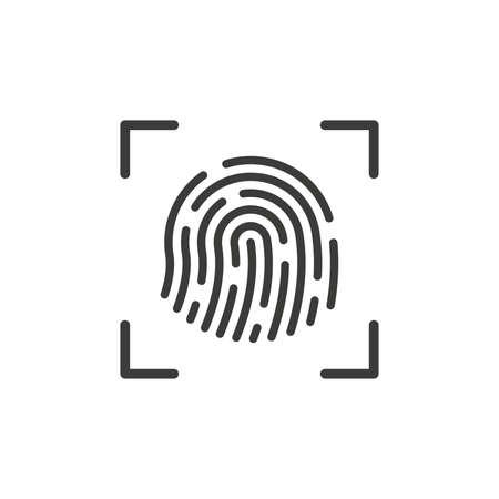Fingerprint scan black vector icon. Print scanner symbol.