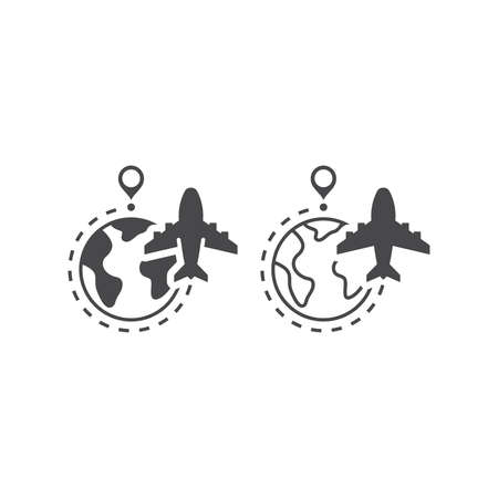 Airplane, globe and dashed line flight route. Commercial flying vector icon with planet earth and location pin. 矢量图像