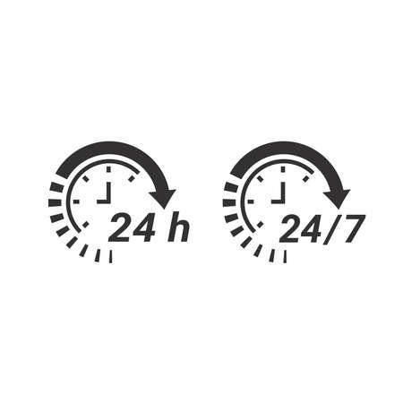 24 7 clock circle arrow for nonstop service icon. Non stop, twenty four hours support vector.