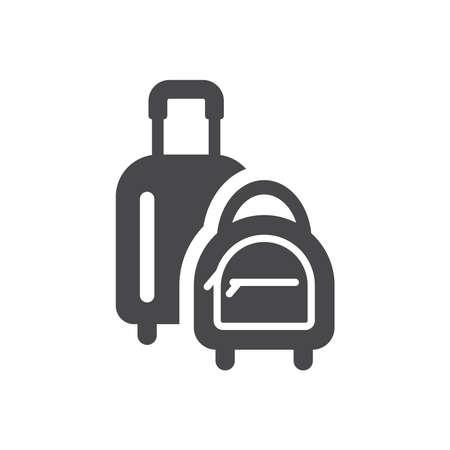 Luggage, handbag black vector icon. Baggage, suitcase bag symbol. Ilustracja