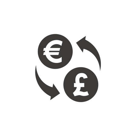 Pound and euro exchange black vector icon. Loop with arrows, currency symbol. Ilustracja