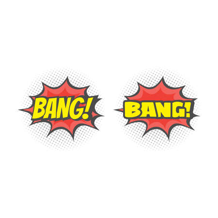 Bang lettering explosion cartoon. Colorful halftone comic vector. Ilustracja