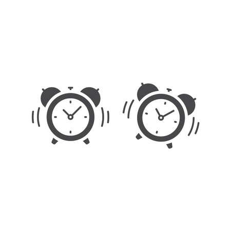 Alarm clock with bell ringing icon. Black vector symbol, retro style.