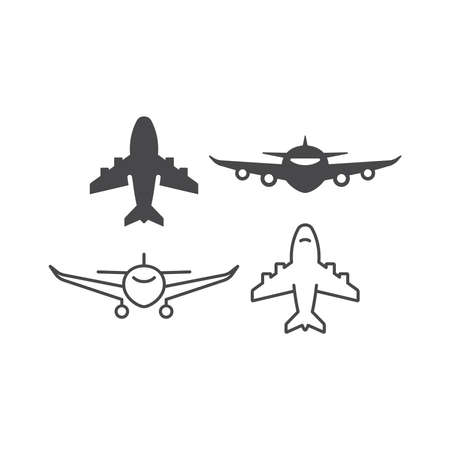 Airplane black vector line and glyph. Airline simple icon set.