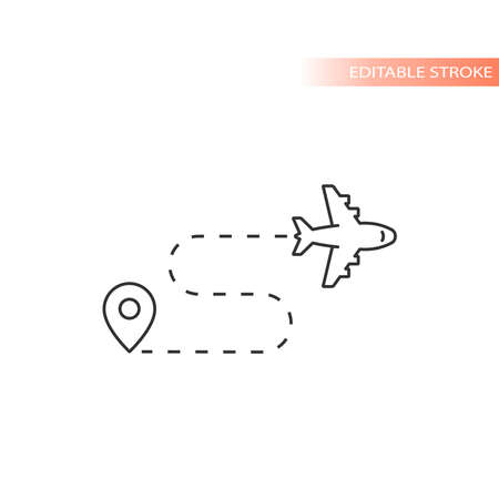 Airplane flight route with location pin vector icon. Outline, editable stroke. Ilustracja