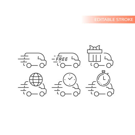 Delivery truck or van line vector icon set. Fast delivery, speed marks, clock and international shipping symbols. Outline, editable stroke. Ilustracja
