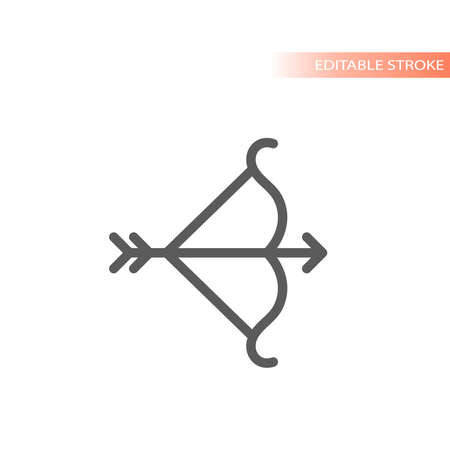 Bow and arrow line vector icon. Simple outline, editable stroke. Ilustracja