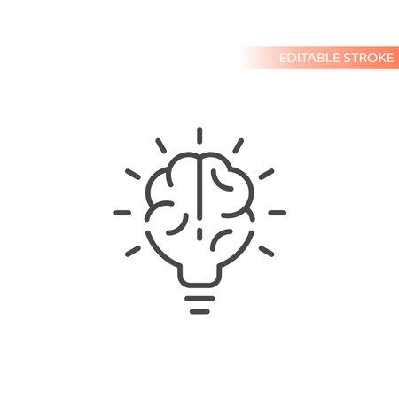 Lightbulb brain line vector icon. Light bulb idea concept symbol, editable stroke.