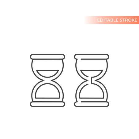 Hourglass simple black vector icon set. Sand clock line symbol set. Ilustracja