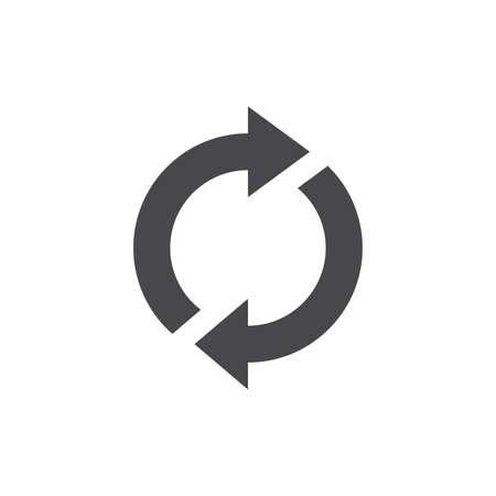 Loop circle arrows black vector icon. Reload, refresh arrow symbol. Ilustracja