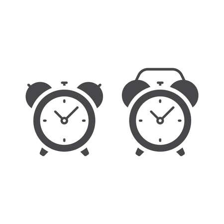 Retro alarm clock with bells. Black vector glyph icon.