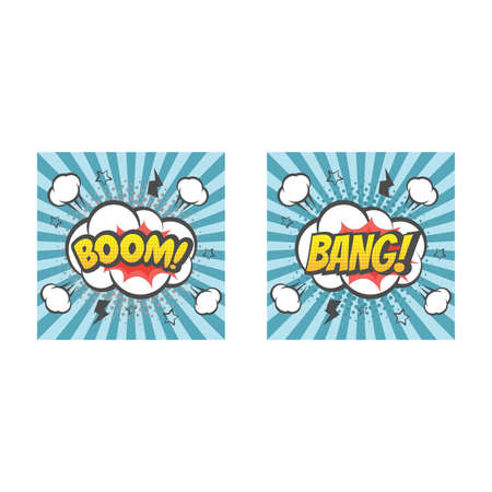 Boom and bang explosion colorful vector cartoon. Bang! Boom! text lettering comic. Ilustracja