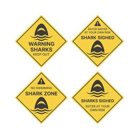 Shark warning sign in yellow rhombus. Sharks, keep out vector.