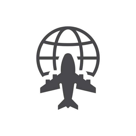 Airplane and globe black vector icon. World, global commercial airline symbol. Ilustracja