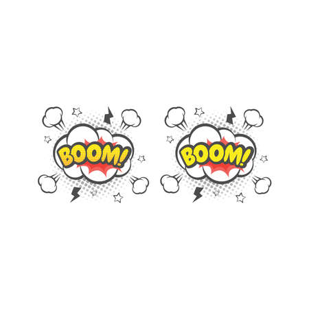 Boom explosion colorful vector cartoon. Boom! text lettering comic. Ilustracja