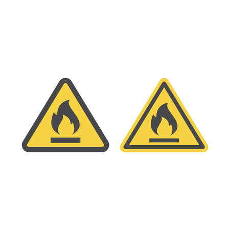 Highly flammable gas or liquid vector sign. Fire warning sign with flame in yellow and triangle. Ilustracja