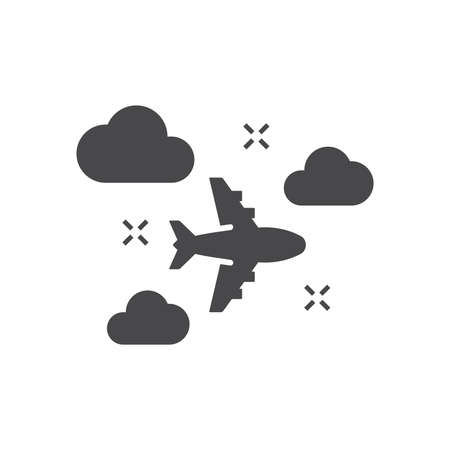 Airplane flying with clouds in the sky icon. Black vector travel symbol.