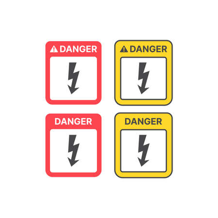 Danger high voltage warning sign. Yellow and red caution sign with lightning bolt. Ilustracja