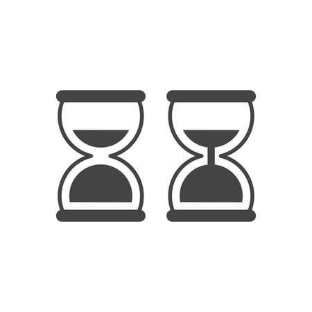 Hourglass simple black vector icon set. Sand clock glyph symbol set. Ilustracja