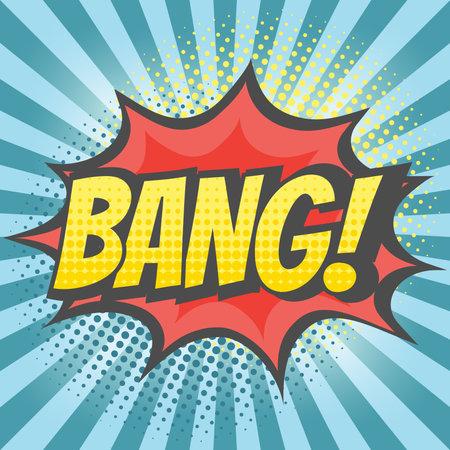 Bang explosion colorful vector cartoon. Bang! text lettering comic.