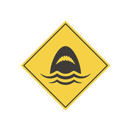 Shark yellow vector warning sign. Danger, sharks symbol icon.