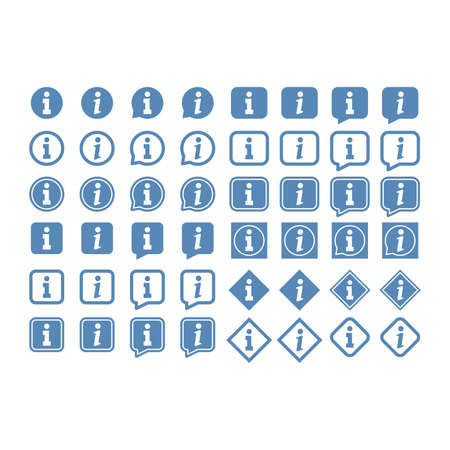Info vector icon set. Information or help button in box.