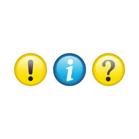 Info and help with exclamation mark button set. Question and information circle glossy icon set.