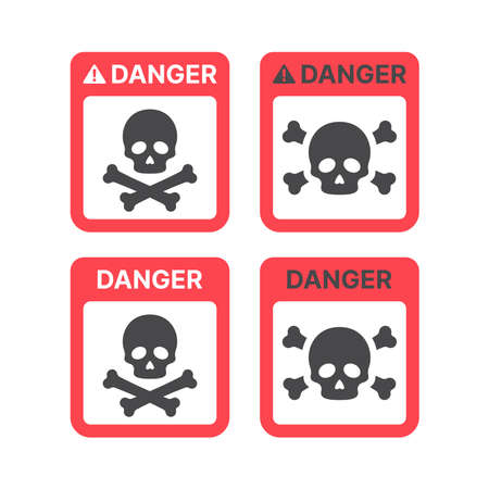 Danger warning sign with skull and crossbones. Poison, toxic or biohazard icon. Ilustracja