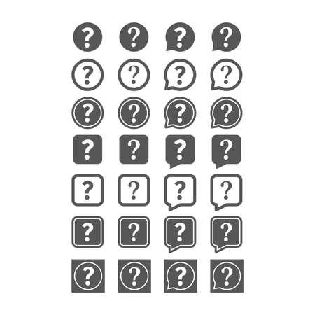 Question mark black vector icon. Help circle speech bubble. Ilustracja