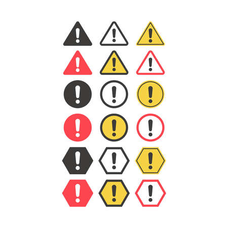 Warning sign with exclamation mark. Caution, danger and beware vector icon set. Ilustracja
