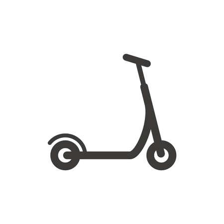 Push scooter black vector icon. Simple glyph symbol.