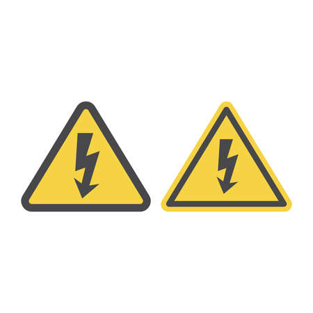 High voltage warning sign. Yellow caution vector sign with lightning bolt.