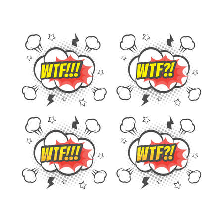 Wtf explosion colorful vector cartoon. Text lettering comic.