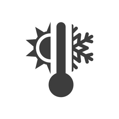 Thermometer with sun and snowflake icon. Vector weather or meteorology symbol. Ilustracja
